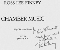 Inscribed cover page of Chamber Music