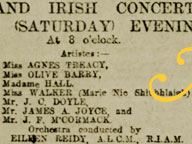 Clipping from the Freeman's Journal announcing a 1904 concert featuring James Joyce