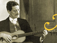 James Joyce playing the guitar in Trieste, 1915